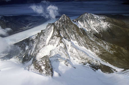 grandeur: Aerial view at 3400 meters of Mount Fitzroy, Cerro Torre Range and Andes Mountains, Patagonia, Argentina Editorial