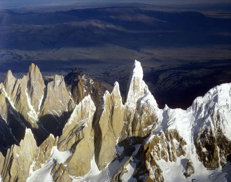 cerro fitzroy: Aerial view at 3400 meters of Mount Fitzroy, Cerro Torre Range and Andes Mountains, Patagonia, Argentina Editorial
