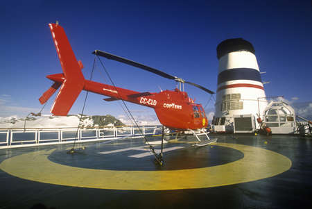 helicopter pad: Helicopter on landing pad of cruise ship Marco Polo, Antarctica