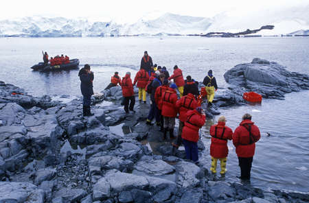 sightseers: Ecological tourists landing at Paradise Harbor, Antarctica