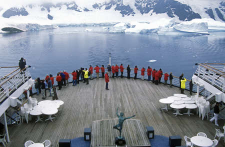 sightseers: Cruise ship Marco Polo in LeMaire Harbor, Antarctica