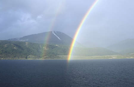 tierra: Double rainbow over ocean at Ushuaia, Tierra del Fuego National Park and Andes Mountains, Argentina