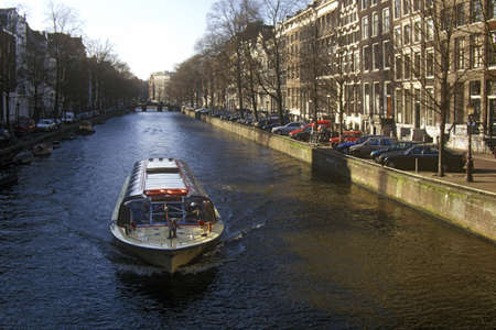 Canals and houseboats in Amsterdam, Holland Editorial