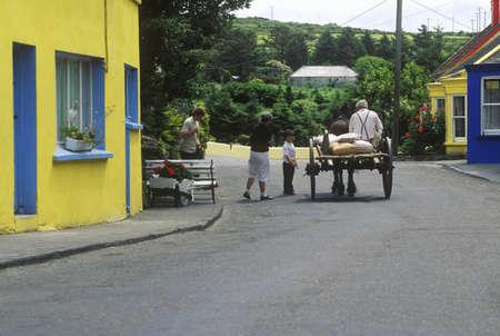abodes: Cart and horse, Eyeries Village, West Cork, Ireland Editorial