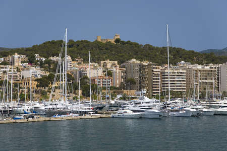 Palma Harbour & Bellver Castle of Majorca, the largest island of Spain, Europe on the Mediterranean Sea and part of Balearic Islands archipelago