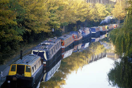Canal boats in London, England 新闻类图片