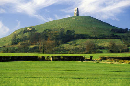 greenfield: Glastonbury Tor, A sacred site along the English countryside in Glastonbury, England Editorial