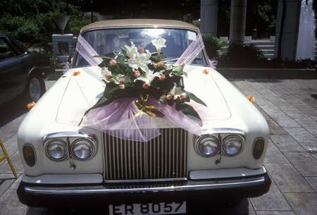 Flowers on a Rolls Royce for wedding in Hong Kong