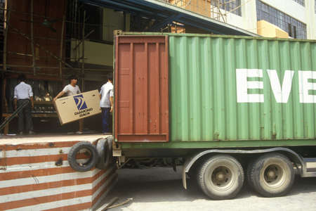 Truck and loading dock at Shanghai Shangling Electric Appliances Company, Ltd., in Shanghai, Peoples Republic of China
