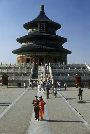sightseers: Temple of Heaven (Tiantan) Hall of Prayer for Good Harvests in Beijing in Hebei Province, Peoples Republic of China