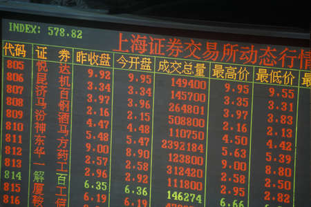 ticker: Ticker board in Shanghai Stock Exchange, Peoples Republic of China