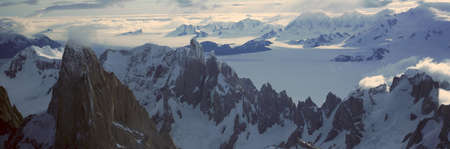 fitzroy: Panoramic aerial view at 3400 meters of Mount Fitzroy, Cerro Torre Range and Andes Mountains, Patagonia, Argentina