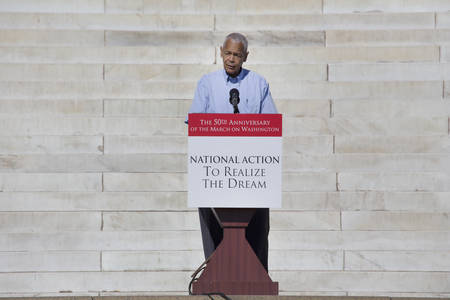 Julian Bond, former chairman of NAACP speaks at the National Action to Realize the Dream march and rally for the 50th Anniversary of the march on Washington and Martin Luther King's I Have A Dream Speech, August 24, 2013, Lincoln Memorial, Washington, D.C Stock Photo - 24619167