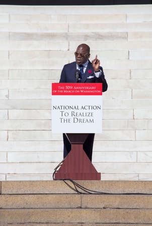 Reverend Dr. Jamal Bryant speaks at the National Action to Realize the Dream march and rally for the 50th Anniversary of the march on Washington and Martin Luther King's I Have A Dream Speech, August 24, 2013, Lincoln Memorial, Washington, D.C.