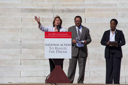 Terry ONeill, President of National Organization of Women speaks at the National Action to Realize the Dream march and rally for the 50th Anniversary of the march on Washington and Martin Luther Kings I Have A Dream Speech, August 24, 2013, Lincoln Memo Editorial