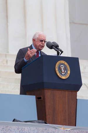 president???s: L'ex presidente americano Jimmy Carter batte osservazioni durante la 'Let Freedom Ring' evento di commemorazione, al Lincoln Memorial 28 Agosto 2013 a Washington, DC., Un evento per commemorare il 50 � anniversario di Dr. Martin Luther King 's' Jr. I Have a Dream 's