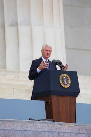 bill of rights: Former US president Bill Clinton speaks during the Let Freedom Ring Commemoration, the 50th anniversary of the March on Washington for Jobs and Freedom at the Lincoln Memorial in Washington, DC on August 28, 2013.