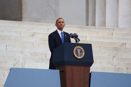 U.S. President Barack Obama speaks during the Let Freedom Ring ceremony at the Lincoln Memorial August 28, 2013 in Washington, DC, commemorating the 50th anniversary of Dr. Martin Luther King Jr.'s 'I Have a Dream' speech.