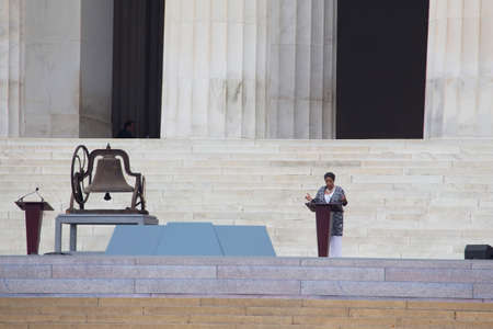 Wife of Medgar Evers, Mylie Evers Williams speaks during the Let Freedom Ring ceremony at the Lincoln Memorial August 28, 2013 in Washington, DC, commemorating the 50th anniversary of Dr. Martin Luther King Jr.s I Have a Dream speech.  Editorial