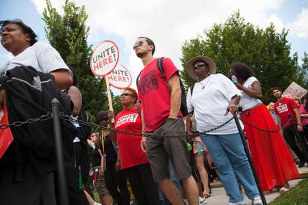 marchers: Civil Rights marchers at the National Action to Realize the Dream march and rally for the 50th Anniversary of the march on Washington and Martin Luther Kings I Have A Dream Speech, August 24, 2013, Lincoln Memorial, Washington, D.C.