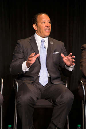 Marc Haydel Morial is an American political and civic leader and the current president of the National Urban Leagues is seen at the Newseum Museum Panel on 50th Anniversary of Civil Rights March on Washington, D.C.,  No Lie Can Live Forever  新聞圖片