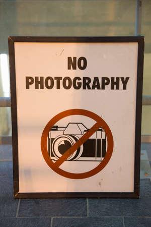 Geen fotografie Teken bij Pentagon, Washington DC Stockfoto