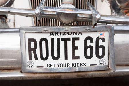 plaque immatriculation: Route 66 plaque d'immatriculation, Seligman, Arizona �ditoriale