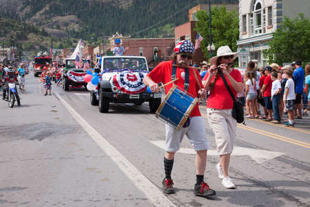 Uncle Sam marches in July 4 Independence Day Parade, Ouray, Colorado