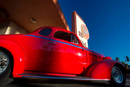 Classic cars and hot rods at 1950's Diner, Bob's Big Boy, Riverside Drive, Burbank, California