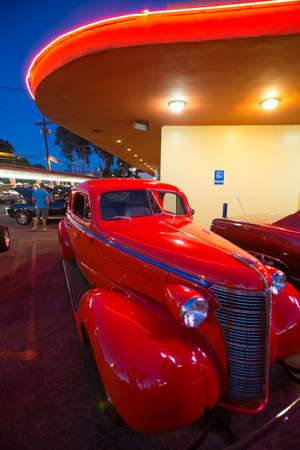 Classic cars and hot rods at 1950s Diner, Bobs Big Boy, Riverside Drive, Burbank, California