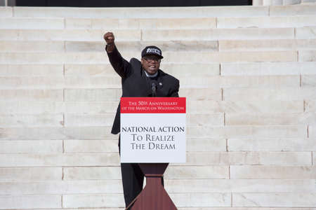 Lennox Yearwood, President of Hip Hop Caucus, speaks at the National Action to Realize the Dream march and rally for the 50th Anniversary of the march on Washington and Martin Luther King's I Have A Dream Speech, August 24, 2013, Lincoln Memorial, Washing Stock Photo - 24619309
