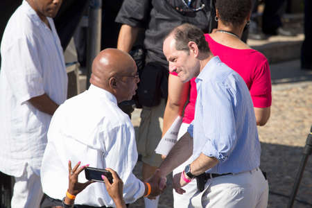 Former New York Governor Elliot Spitzer speaks to Congressman John Lewis at the National Action to Realize the Dream march and rally for the 50th Anniversary of the march on Washington and Martin Luther Kings I Have A Dream Speech, August 24, 2013, Linco Editorial