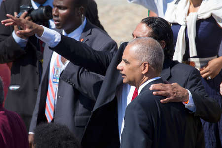 US Attorney General Eric Holder at the National Action to Realize the Dream march and rally for the 50th Anniversary of the march on Washington and Martin Luther Kings I Have A Dream Speech, August 24, 2013, Lincoln Memorial, Washington, D.C.