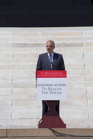speaks: U.S. Attorney Eric Holder Jr. speaks at the National Action to Realize the Dream march and rally for the 50th Anniversary of the march on Washington and Martin Luther Kings I Have A Dream Speech, August 24, 2013, Lincoln Memorial, Washington, D.C.