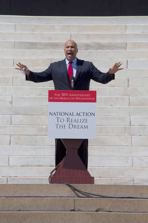 U.S. Senator candidate and former Newark Mayor, Cory Booker speaks at the National Action to Realize the Dream march and rally for the 50th Anniversary of the march on Washington and Martin Luther Kings I Have A Dream Speech, August 24, 2013, Lincoln Mem
