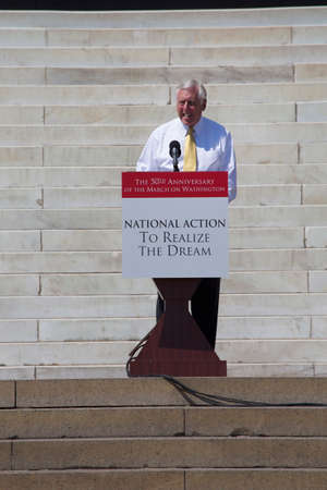 congressman: Maryland Congressman Steny Hoyer speaks at the National Action to Realize the Dream march and rally for the 50th Anniversary of the march on Washington and Martin Luther Kings I Have A Dream Speech, August 24, 2013, Lincoln Memorial, Washington, D.C.