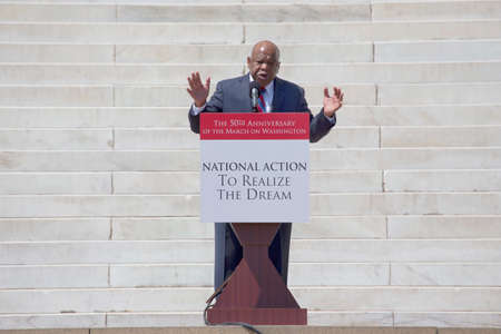 congressman: Georgia Congressman John Lewis speaks at the  National Action to Realize the Dream march and rally for the 50th Anniversary of the march on Washington and Martin Luther Kings I Have A Dream Speech, August 24, 2013, Lincoln Memorial, Washington, D.C.