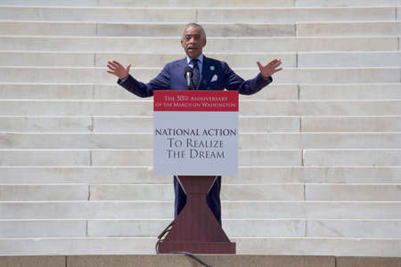 speaks: Reverend Al Sharpton, MSNBC TV host of Politics Nation, speaks at the  National Action to Realize the Dream march and rally for the 50th Anniversary of the march on Washington and Martin Luther Kings I Have A Dream Speech, August 24, 2013, Lincoln Mem