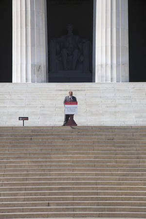 Martin Luther King III speaks at the National Action to Realize the Dream march and rally for the 50th Anniversary of the march on Washington and Martin Luther Kings I Have A Dream Speech, August 24, 2013, Lincoln Memorial, Washington, D.C.