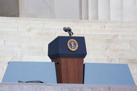 Empty Presidential Podium at the Let Freedom Ring 50th Anniversary Of MLKs March On Washington on August 28, 2013