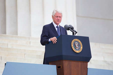 Former US president Bill Clinton speaks during the Let Freedom Ring Commemoration, the 50th anniversary of the March on Washington for Jobs and Freedom at the Lincoln Memorial in Washington, DC on August 28, 2013. Editorial
