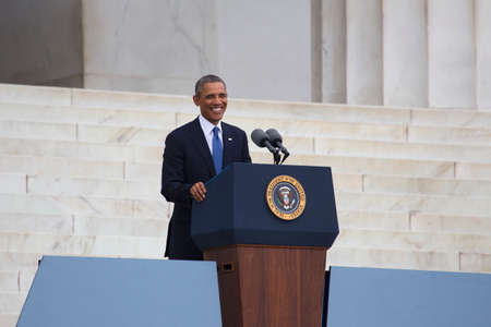 U.S. President Barack Obama speaks during the Let Freedom Ring ceremony at the Lincoln Memorial August 28, 2013 in Washington, DC, commemorating the 50th anniversary of Dr. Martin Luther King Jr.s I Have a Dream speech.
