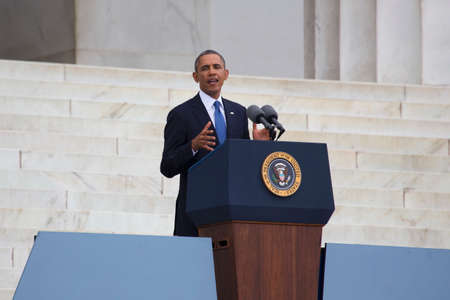 U.S. President Barack Obama speaks during the Let Freedom Ring ceremony at the Lincoln Memorial August 28, 2013 in Washington, DC, commemorating the 50th anniversary of Dr. Martin Luther King Jr.s I Have a Dream speech.  Editorial