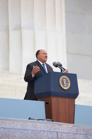 Martin Luther King III, son of the late Dr. Martin Luther King Jr., addresses the Let Freedom Ring, the 50th anniversary of the March on Washington on the footsteps of the Lincoln Memorial in Washington, DC on August 28, 2013.   Editorial