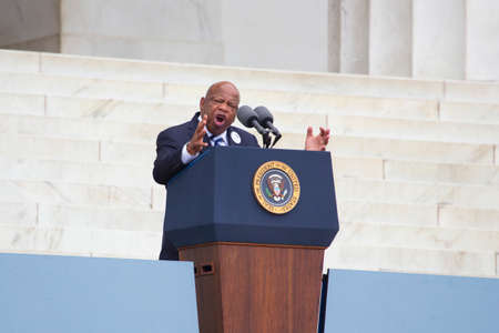congressman: Georgia Congressman John Lewis speaks during the Let Freedom Ring ceremony at the Lincoln Memorial August 28, 2013 in Washington, DC, commemorating the 50th anniversary of Dr. Martin Luther King Jr.s I Have a Dream speech.  Editorial