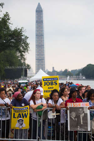 Audiences on the National Mall listen to Presidential speeches at the Let Freedom Ring ceremony at the Lincoln Memorial August 28, 2013 in Washington, DC, commemorating the 50th anniversary of Dr. Martin Luther King Jr.s I Have a Dream speech.  Editorial