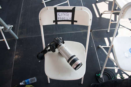 Canon Camera with 100-400 mm zoom lens on chair saying King Family, for Martin Luther King Family, 50th Anniversary, MLK Speech and March on Washington, Washington, DC