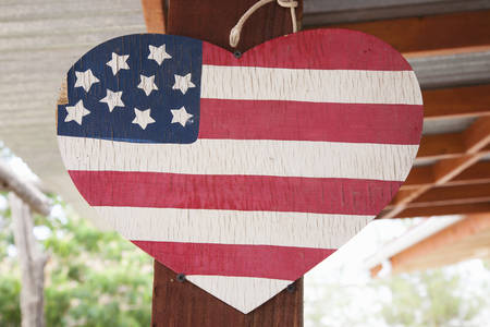 suggests: A heart in the shape of an American flag suggests love of America  Stock Photo