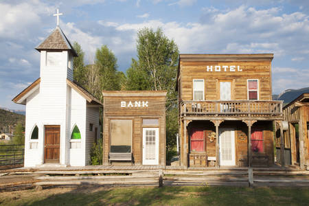 Western storefronts with church, hotel and bank, Ridgway, Colorado