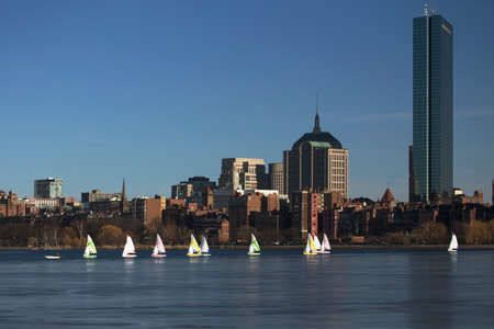 prudential: Boston Skyline, sail boats and Prudential Bld. in winter on half frozen Charles River, Massachusetts, USA